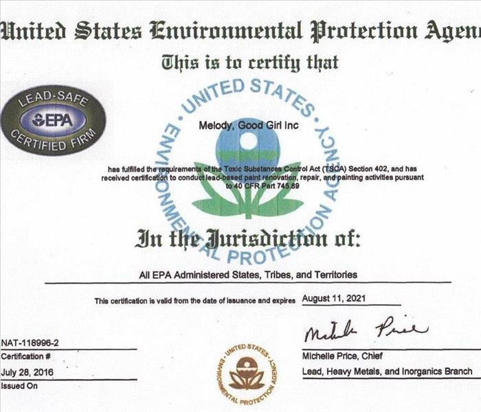 EPA Lead-Safe Certified Firm | SERVPRO of Winter Haven